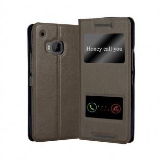 Cadorabo Hülle für HTC One M9 in STEIN BRAUN - Handyhülle mit Magnetverschluss, Standfunktion und 2 Sichtfenstern - Case Cover Schutzhülle Etui Tasche Book Klapp Style