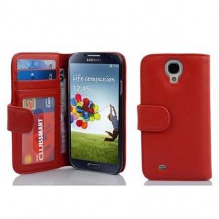 Cadorabo Hülle für Samsung Galaxy S4 in INFERNO ROT Handyhülle mit Magnetverschluss und 3 Kartenfächern Case Cover Schutzhülle Etui Tasche Book Klapp Style