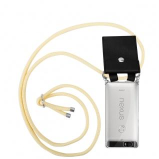 Cadorabo Handy Kette für Huawei 6P in CREME BEIGE Silikon Necklace Umhänge Hülle mit Silber Ringen, Kordel Band Schnur und abnehmbarem Etui Schutzhülle