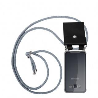 Cadorabo Handy Kette für Samsung Galaxy J5 2015 in SILBER GRAU - Silikon Necklace Umhänge Hülle mit Silber Ringen, Kordel Band Schnur und abnehmbarem Etui - Schutzhülle