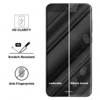 Cadorabo Vollbild Panzer Folie für Huawei P8 LITE 2017 - Schutzfolie in TRANSPARENT mit SCHWARZ - Gehärtetes (Tempered) Display-Schutzglas in 9H Härte mit 3D Touch Kompatibilität - Vorschau 3