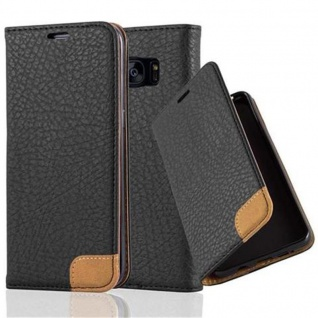 Cadorabo Hülle für Samsung Galaxy S7 EDGE - Hülle in SIGNAL SCHWARZ ? Handyhülle mit Standfunktion, Kartenfach und Textil-Patch - Case Cover Schutzhülle Etui Tasche Book Klapp Style