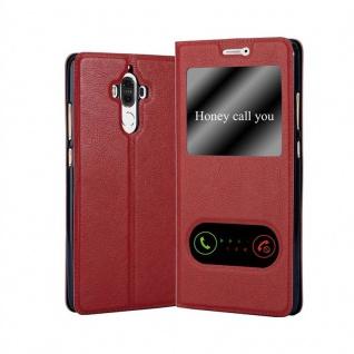 Cadorabo Hülle für Huawei MATE 9 in SAFRAN ROT - Handyhülle mit Magnetverschluss, Standfunktion und 2 Sichtfenstern - Case Cover Schutzhülle Etui Tasche Book Klapp Style