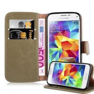 Cadorabo Hülle für Samsung Galaxy S5 MINI / S5 MINI DUOS in CAPPUCCINO BRAUN Handyhülle mit Magnetverschluss, Standfunktion und Kartenfach Case Cover Schutzhülle Etui Tasche Book Klapp Style