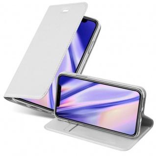 Cadorabo Hülle für Apple iPhone XS MAX in CLASSY SILBER - Handyhülle mit Magnetverschluss, Standfunktion und Kartenfach - Case Cover Schutzhülle Etui Tasche Book Klapp Style