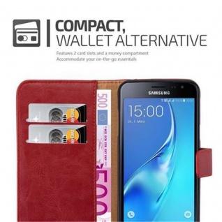 Cadorabo Hülle für Samsung Galaxy J3 2016 in WEIN ROT ? Handyhülle mit Magnetverschluss, Standfunktion und Kartenfach ? Case Cover Schutzhülle Etui Tasche Book Klapp Style - Vorschau 4