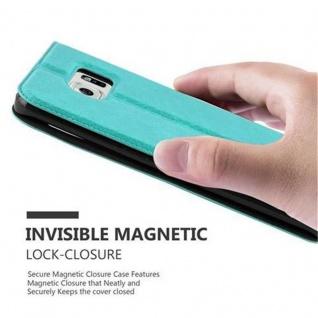Cadorabo Hülle für Samsung Galaxy S6 EDGE in MINT TÜRKIS - Handyhülle mit Magnetverschluss, Standfunktion und 2 Sichtfenstern - Case Cover Schutzhülle Etui Tasche Book Klapp Style - Vorschau 5