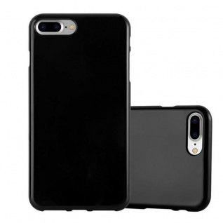 Cadorabo Hülle für Apple iPhone 8 PLUS / iPhone 7 PLUS / iPhone 7S PLUS in JELLY SCHWARZ Handyhülle aus flexiblem TPU Silikon Silikonhülle Schutzhülle Ultra Slim Soft Back Cover Case Bumper
