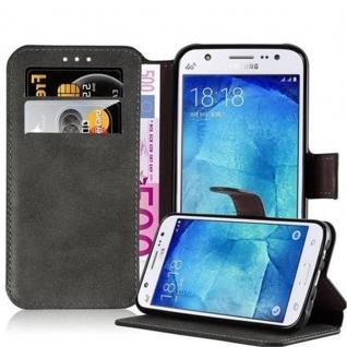 Cadorabo Hülle für Samsung Galaxy J5 2015 - Hülle in MATT GRAU ? Handyhülle mit Standfunktion und Kartenfach im Retro Design - Case Cover Schutzhülle Etui Tasche Book Klapp Style