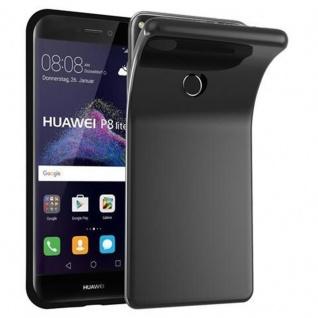 Cadorabo Hülle für Huawei P8 LITE 2017 in SCHWARZ - Handyhülle aus flexiblem TPU Silikon - Silikonhülle Schutzhülle Ultra Slim Soft Back Cover Case Bumper
