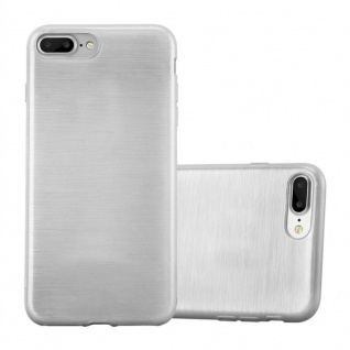 Cadorabo Hülle für Apple iPhone 8 PLUS / iPhone 7 PLUS / iPhone 7S PLUS in SILBER Handyhülle aus flexiblem TPU Silikon Silikonhülle Schutzhülle Ultra Slim Soft Back Cover Case Bumper