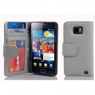 Cadorabo Hülle für Samsung Galaxy S2 / S2 PLUS in MAGNESIUM WEIß - Handyhülle mit Magnetverschluss und 3 Kartenfächern - Case Cover Schutzhülle Etui Tasche Book Klapp Style