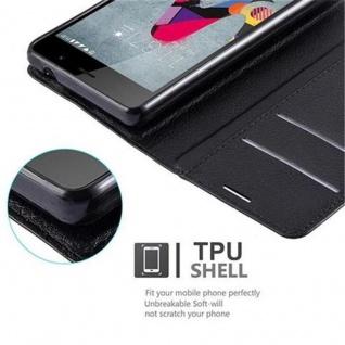 Cadorabo Hülle für WIKO SLIDE 2 in PHANTOM SCHWARZ - Handyhülle mit Magnetverschluss, Standfunktion und Kartenfach - Case Cover Schutzhülle Etui Tasche Book Klapp Style - Vorschau 4