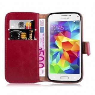Cadorabo Hülle für Samsung Galaxy S5 MINI / S5 MINI DUOS in WEIN ROT ? Handyhülle mit Magnetverschluss, Standfunktion und Kartenfach ? Case Cover Schutzhülle Etui Tasche Book Klapp Style - Vorschau 5