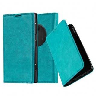 Cadorabo Hülle für Nokia Lumia 1020 in PETROL TÜRKIS - Handyhülle mit Magnetverschluss, Standfunktion und Kartenfach - Case Cover Schutzhülle Etui Tasche Book Klapp Style
