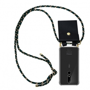 Cadorabo Handy Kette für Nokia 3.1 Plus in CAMOUFLAGE Silikon Necklace Umhänge Hülle mit Gold Ringen, Kordel Band Schnur und abnehmbarem Etui Schutzhülle