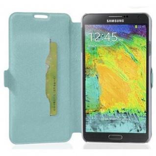 Cadorabo Hülle für Samsung Galaxy NOTE 3 - Hülle in ICY BLAU ? Handyhülle mit Standfunktion und Kartenfach im Ultra Slim Design - Case Cover Schutzhülle Etui Tasche Book