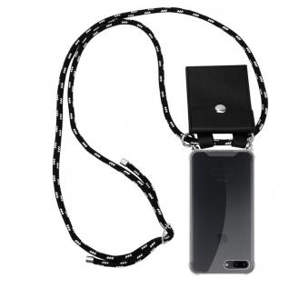 Cadorabo Handy Kette für Apple iPhone 8 PLUS / 7 PLUS / 7S PLUS in SCHWARZ SILBER Silikon Necklace Umhänge Hülle mit Silber Ringen, Kordel Band Schnur und abnehmbarem Etui Schutzhülle
