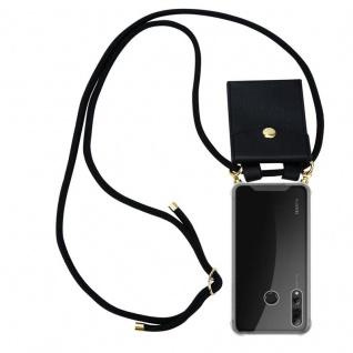 Cadorabo Handy Kette für Huawei P SMART PLUS 2019 in SCHWARZ Silikon Necklace Umhänge Hülle mit Gold Ringen, Kordel Band Schnur und abnehmbarem Etui Schutzhülle