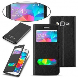 Cadorabo Hülle für Samsung Galaxy GRAND PRIME in KOMETEN SCHWARZ ? Handyhülle mit Magnetverschluss, Standfunktion und 2 Sichtfenstern ? Case Cover Schutzhülle Etui Tasche Book Klapp Style - Vorschau 2