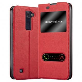 Cadorabo Hülle für LG K8 2016 in SAFRAN ROT - Handyhülle mit Magnetverschluss, Standfunktion und 2 Sichtfenstern - Case Cover Schutzhülle Etui Tasche Book Klapp Style