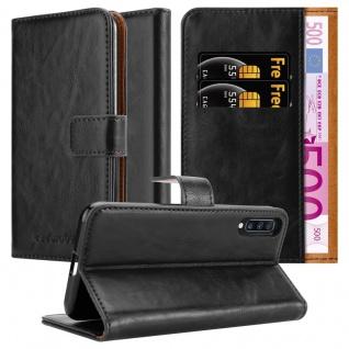 Cadorabo Hülle für Samsung Galaxy A70 in GRAPHIT SCHWARZ Handyhülle mit Magnetverschluss, Standfunktion und Kartenfach Case Cover Schutzhülle Etui Tasche Book Klapp Style