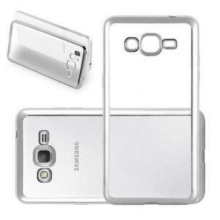Cadorabo Hülle für Samsung Galaxy GRAND PRIME - Hülle in TRANSPARENT mit CHROM SILBER ? Handyhülle aus TPU Silikon im Chrom Design - Silikonhülle Schutzhülle Ultra Slim Soft Back Cover Case Bumper