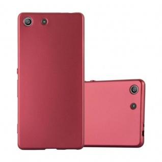 Cadorabo Hülle für Sony Xperia M5 - Hülle in METALLIC ROT ? Handyhülle aus TPU Silikon im Matt Metallic Design - Ultra Slim Soft Backcover Case Bumper