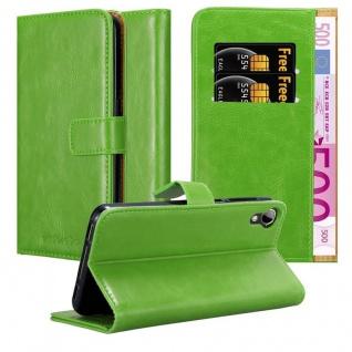 Cadorabo Hülle für HTC Desire 10 Lifestyle / Desire 825 in GRAS GRÜN ? Handyhülle mit Magnetverschluss, Standfunktion und Kartenfach ? Case Cover Schutzhülle Etui Tasche Book Klapp Style