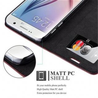 Cadorabo Hülle für Samsung Galaxy S6 in APFEL ROT - Handyhülle mit Magnetverschluss, Standfunktion und Kartenfach - Case Cover Schutzhülle Etui Tasche Book Klapp Style - Vorschau 3
