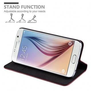 Cadorabo Hülle für Samsung Galaxy S6 in APFEL ROT - Handyhülle mit Magnetverschluss, Standfunktion und Kartenfach - Case Cover Schutzhülle Etui Tasche Book Klapp Style - Vorschau 4