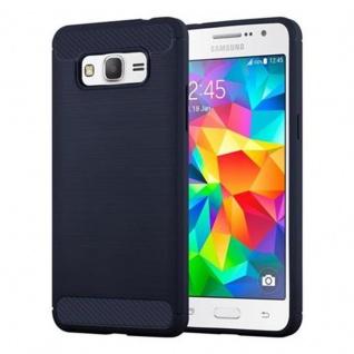 Cadorabo Hülle für Samsung Galaxy GRAND PRIME - Hülle in BRUSHED BLAU ? Handyhülle aus TPU Silikon in Edelstahl-Karbonfaser Optik - Silikonhülle Schutzhülle Ultra Slim Soft Back Cover Case Bumper