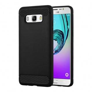 Cadorabo Hülle für Samsung Galaxy J7 2016 (6) - Hülle in BRUSHED SCHWARZ - Handyhülle aus TPU Silikon in Edelstahl-Karbonfaser Optik - Silikonhülle Schutzhülle Ultra Slim Soft Back Cover Case Bumper
