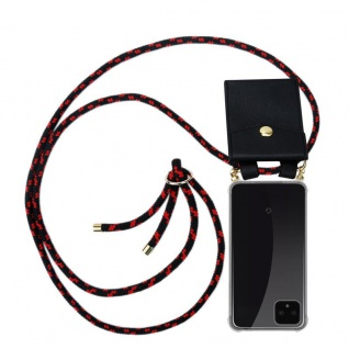 Cadorabo Handy Kette für Google Pixel 4 in SCHWARZ ROT - Silikon Necklace Umhänge Hülle mit Gold Ringen, Kordel Band Schnur und abnehmbarem Etui ? Schutzhülle