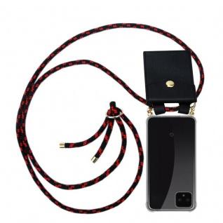 Cadorabo Handy Kette für Google Pixel 4 in SCHWARZ ROT Silikon Necklace Umhänge Hülle mit Gold Ringen, Kordel Band Schnur und abnehmbarem Etui Schutzhülle