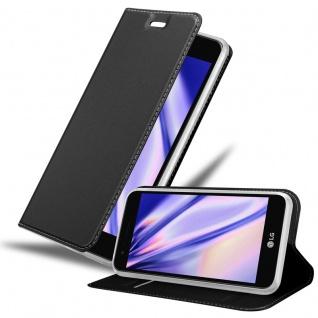 Cadorabo Hülle für LG K4 2017 in CLASSY SCHWARZ - Handyhülle mit Magnetverschluss, Standfunktion und Kartenfach - Case Cover Schutzhülle Etui Tasche Book Klapp Style