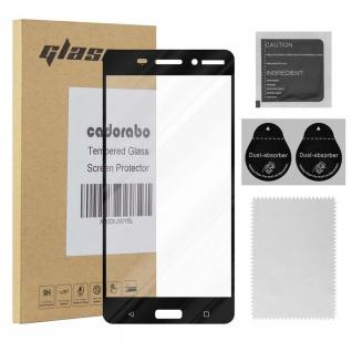 Cadorabo Vollbild Panzer Folie für Nokia 6 2017 - Schutzfolie in TRANSPARENT mit SCHWARZ - Gehärtetes (Tempered) Display-Schutzglas in 9H Härte mit 3D Touch Kompatibilität
