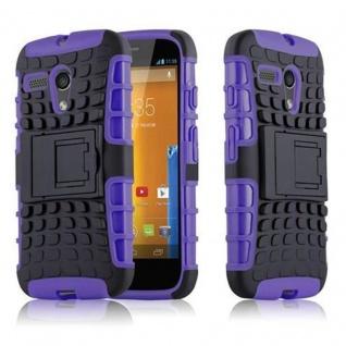 Cadorabo Hülle für Motorola G-DVX - Hülle in SCHWARZ LILA - Handyhülle mit Standfunktion - Hard Case TPU Silikon Schutzhülle für Hybrid Cover im Outdoor Heavy Duty Design
