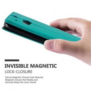 Cadorabo Hülle für HTC ONE M8 (2.Generation) in PETROL TÜRKIS - Handyhülle mit Magnetverschluss, Standfunktion und Kartenfach - Case Cover Schutzhülle Etui Tasche Book Klapp Style - Vorschau 5