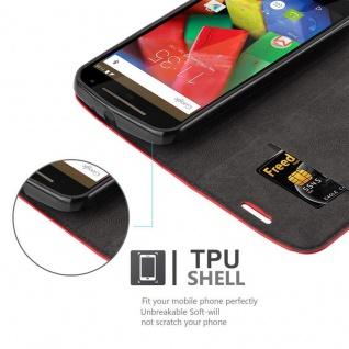 Cadorabo Hülle für Motorola MOTO G2 in APFEL ROT Handyhülle mit Magnetverschluss, Standfunktion und Kartenfach Case Cover Schutzhülle Etui Tasche Book Klapp Style - Vorschau 2