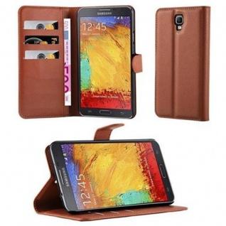 Cadorabo Hülle für Samsung Galaxy NOTE 3 NEO - Hülle in SCHOKO BRAUN ? Handyhülle mit Kartenfach und Standfunktion - Case Cover Schutzhülle Etui Tasche Book Klapp Style