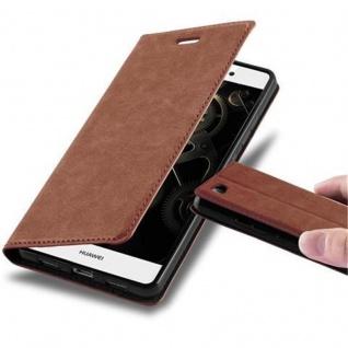 Cadorabo Hülle für Huawei P8 LITE 2015 in CAPPUCCINO BRAUN - Handyhülle mit Magnetverschluss, Standfunktion und Kartenfach - Case Cover Schutzhülle Etui Tasche Book Klapp Style