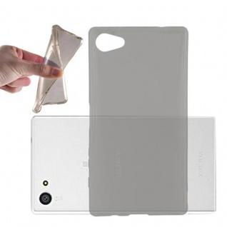 Cadorabo Hülle für Sony Xperia Z5 COMPACT - Hülle in TRANSPARENT SCHWARZ ? Handyhülle aus TPU Silikon im Ultra Slim 'AIR' Design - Ultra Slim Soft Backcover Case Bumper
