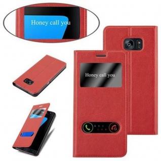 Cadorabo Hülle für Samsung Galaxy S7 EDGE in SAFRAN ROT ? Handyhülle mit Magnetverschluss, Standfunktion und 2 Sichtfenstern ? Case Cover Schutzhülle Etui Tasche Book Klapp Style - Vorschau 4