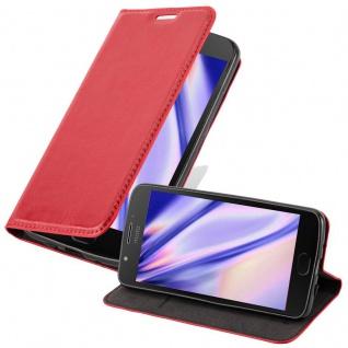 Cadorabo Hülle für Motorola MOTO E4 PLUS in APFEL ROT - Handyhülle mit Magnetverschluss, Standfunktion und Kartenfach - Case Cover Schutzhülle Etui Tasche Book Klapp Style