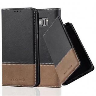 Cadorabo Hülle für Samsung Galaxy S7 EDGE in SCHWARZ BRAUN ? Handyhülle mit Magnetverschluss, Standfunktion und Kartenfach ? Case Cover Schutzhülle Etui Tasche Book Klapp Style