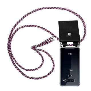 Cadorabo Handy Kette für LG V40 in ROT WEISS Silikon Necklace Umhänge Hülle mit Silber Ringen, Kordel Band Schnur und abnehmbarem Etui Schutzhülle