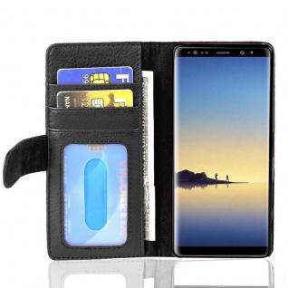 Cadorabo Hülle für Samsung Galaxy NOTE 8 in OXID SCHWARZ Handyhülle mit Magnetverschluss und 3 Kartenfächern Case Cover Schutzhülle Etui Tasche Book Klapp Style