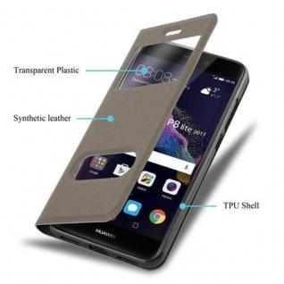 Cadorabo Hülle für Huawei P8 LITE 2017 in STEIN BRAUN - Handyhülle mit Magnetverschluss, Standfunktion und 2 Sichtfenstern - Case Cover Schutzhülle Etui Tasche Book Klapp Style - Vorschau 3