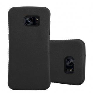 Cadorabo Hülle für Samsung Galaxy S7 EDGE - Hülle in MINERAL SCHWARZ ? Small Waist Handyhülle mit rutschfestem Gummi-Rücken - Hard Case TPU Silikon Schutzhülle